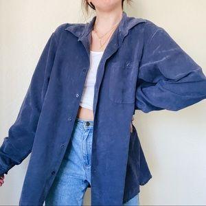 Apt. 9 Indigo Blue Faux Suede Soft Long Sleeve Button Down Shacket Shirt Jacket